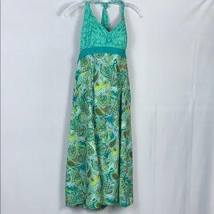 Athleta Blue Green Paisley Halter Sports Dress 12R